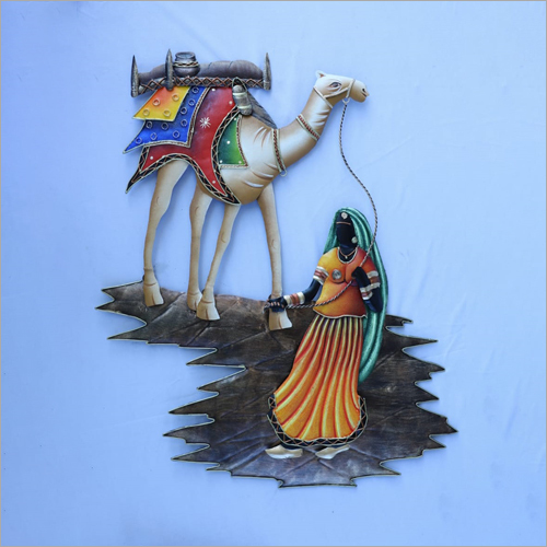 Camel Lady Iron Wall Hanging