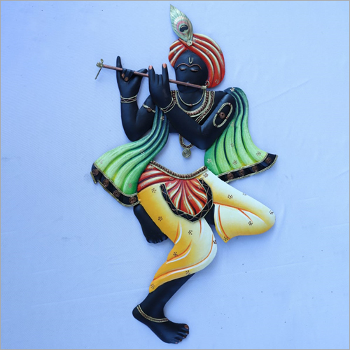 Colour Krishna Bansuri Iron Wall Hanging
