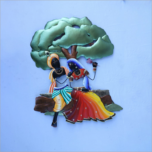 Radha Krishna Sitting Jhula Wrought Iron Wall Hanging