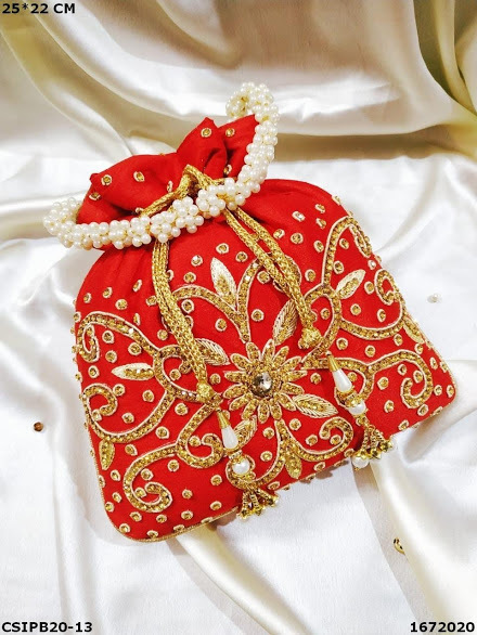 Traditional Silk Golden Embroidery Potli Bags