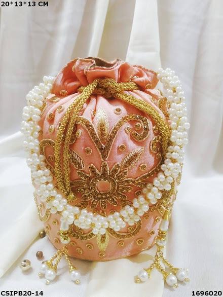 Golden Embroidered Potli Batua Bags