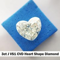 CVD Diamond 3ct J VS1 Heart shape Diamond , Non cert