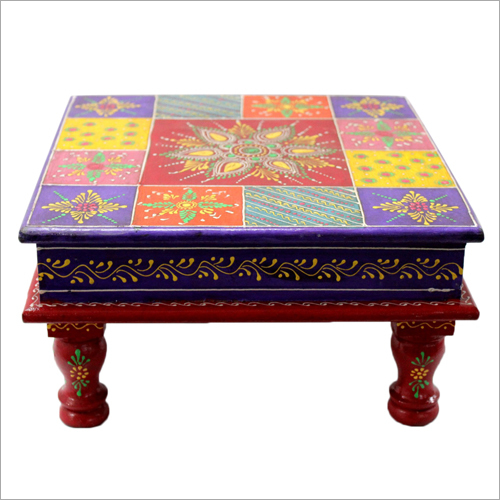 Wooden Hand Painted Pooja Chowki Set