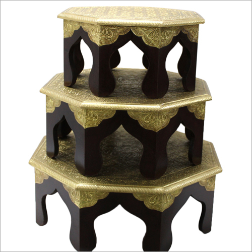 Brass Fitted Wooden Pooja Chowki Set