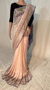 Pure Linen By Linen 120 Count Cut Work Saree .