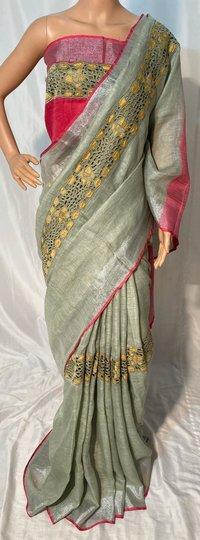 Pure Linen By Linen 120 Count Cut Work Saree .