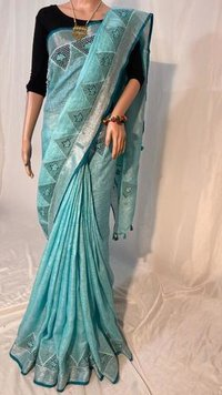 Pure Linen By Linen 120 Count Saree With cut Work