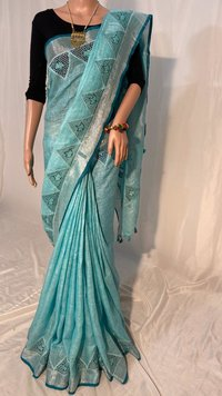 Pure Linen 120 Count Saree ,with cut work.