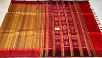 Pure Ghicha Tussar Silk Saree With Double Sided Temple Border Ikkat Woven Pallu.