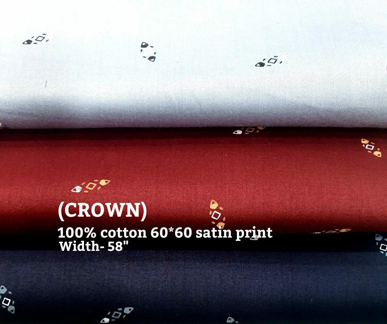 Crown 100% cotton 60*60 satin plain fabric