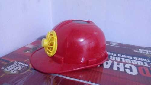 Solar Helmet With Fan - Red Color
