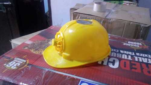 Solar Helmet With Fan - Yellow Color