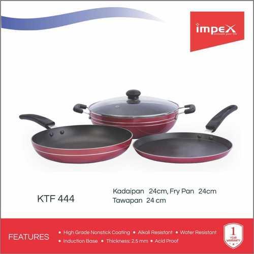 Impex ISKTF-444 Nonstick Aluminium 3 Pcs Cookware Set (Kadai Pan,Tawa Pan,Fry Pan)