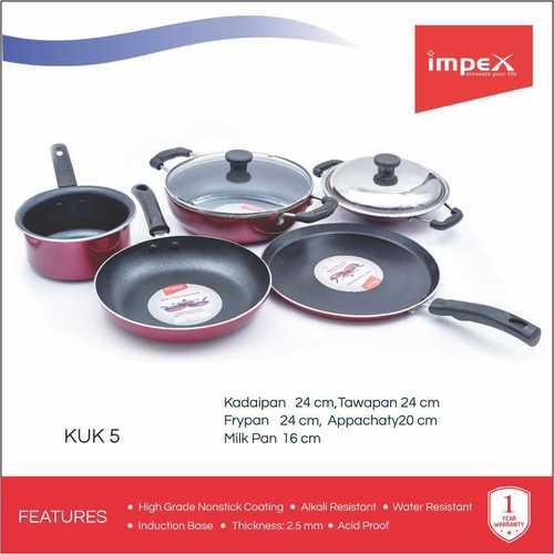 Impex KUK-5 Aluminium Nonstick 7 Pcs Cookware Set (Kadai Pan,Fry Pan,Tawa Pan,Milk Pan and Appachatty)