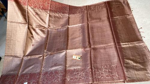 Pure Tussar (Kosa) Silk Handloom Hand Border Saree, Running Blouse