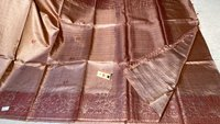 Pure Tussar (Kosa) Silk Handloom Hand Border Saree, Running Blouse