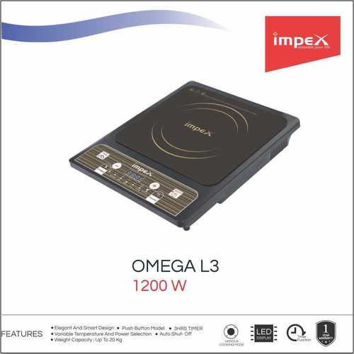 Impex OMEGA-L3 Light Weight Induction Cooktop Without Pot (1200 Watts,Black)