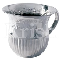Pitcher Style Stainless Steel  Washing Cup with 2 handles - Flower