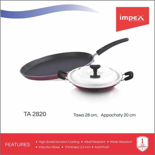 Impex ISTA-2820 Nonstick Aluminium 2 Pcs Cookware Set (Tawa Pan and Appachatty)