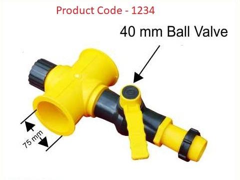 TEE 4 Way Coupler 75 mm / Ball Valve 40 mm / Adaptor 40 mm Lock