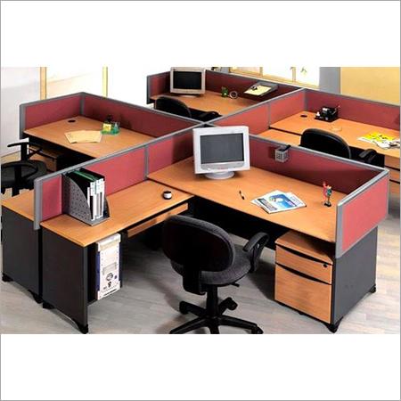 Wood L Shape Office Workstation