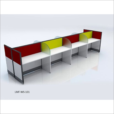 Multicolor Plywood Partition Base Workstation