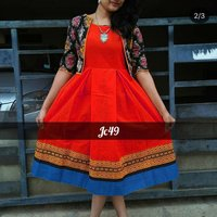 Slub Cotton Fabric Ladies Dress