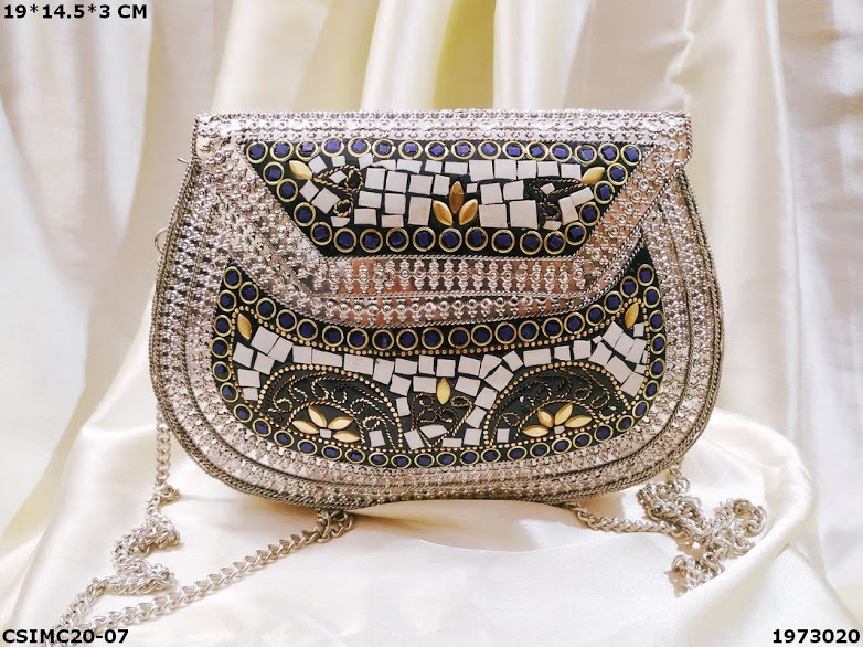 Antique Mosaic Silver Embellished Clutch