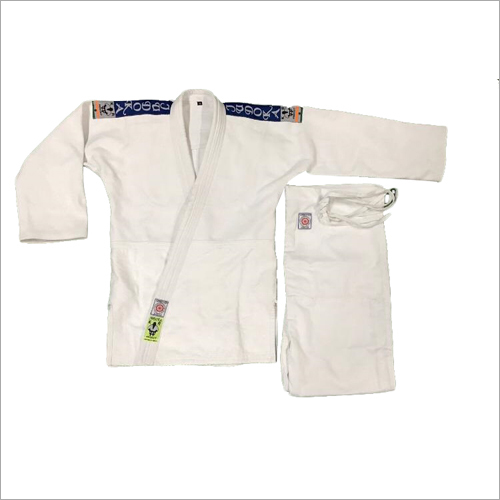 WHITE JUDO UNIFORM BLUE STRIPE