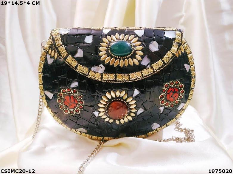 Mosaic Antique Metal Clutch Bag