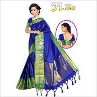 Ladies Handloom Printed Border Saree