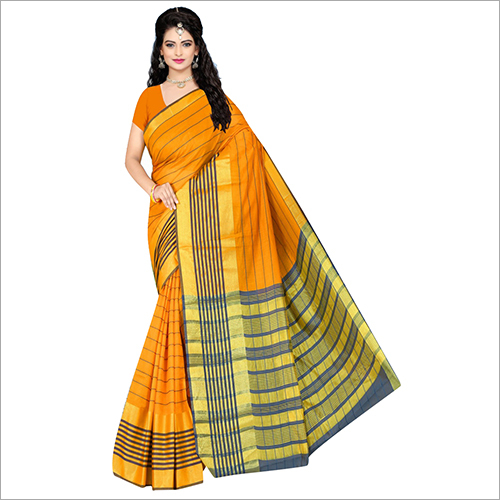 Ladies Grey Striped Cotton Saree