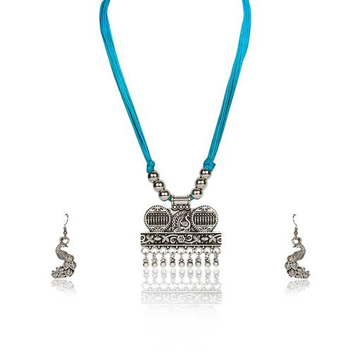 Silver Plated Necklace With Earings Set