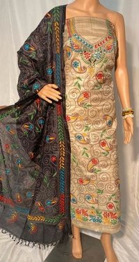 KANTHA HAND EMBROIDERY ON DESI TUSSAR PURE TOP -2.5 MTRS, DUPATTA 2.5 MTRS