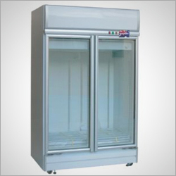 Stainless Steel Upright Chiller With Glass Door