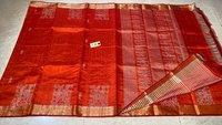 Pure Dupion Raw Silk Handloom Tribal Woven Border Jala Saree.