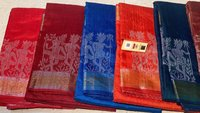 Pure Dupion Raw Silk Handloom Tribal Woven Border Jala Saree.