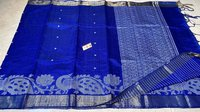 PURE DUPION RAW SILK HANDLOOM PEACOCK BORDER JALA SAREE.