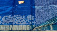 Pure Dupion Raw Silk Handloom Peacock Border Jala Saree.