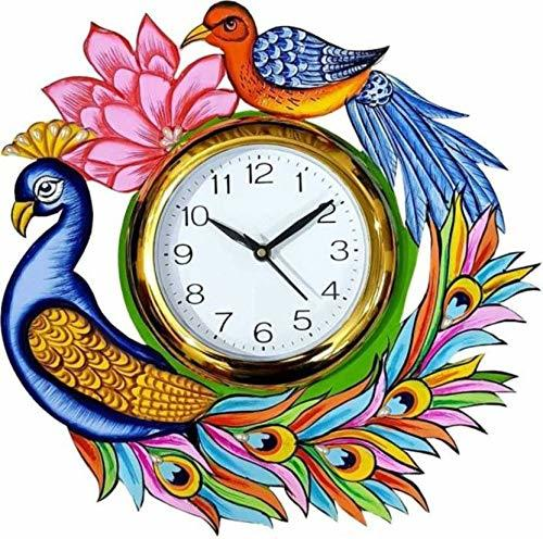wooden Wall Clock Peacock Printed