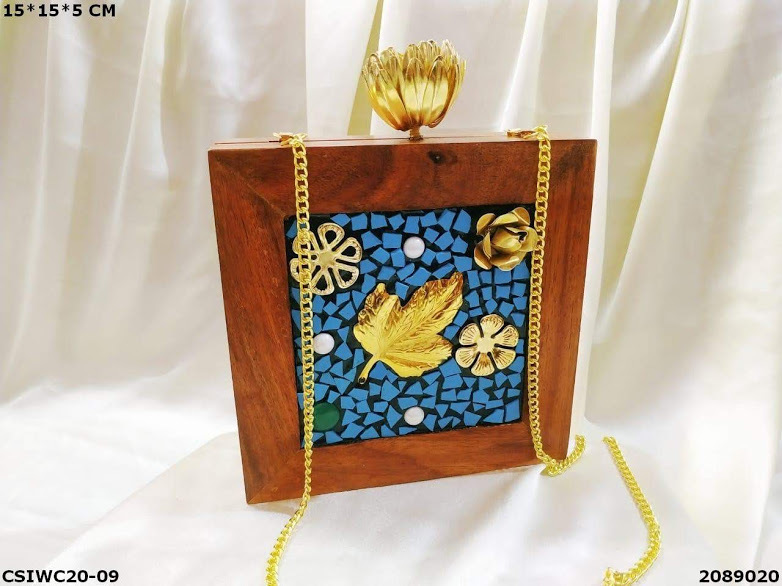 Hancrafted Stone Wooden Box Clutch