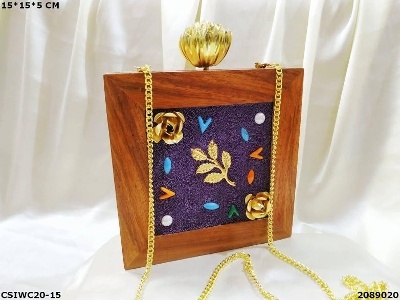 Handcrafted Wooden Box Clutches