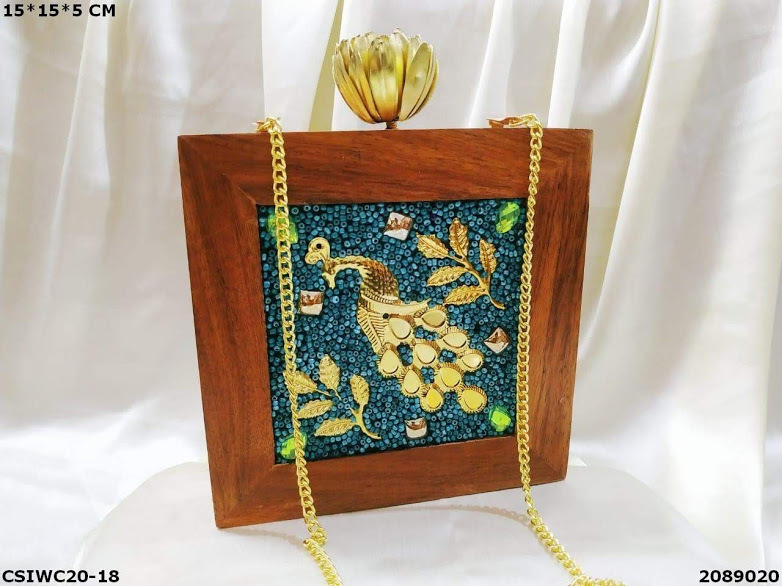 Handmade bead work Wooden Clutch