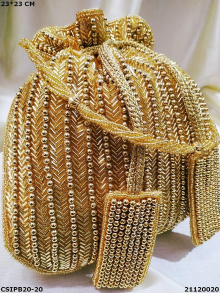 Bridal golden embroidered silk Potli bag