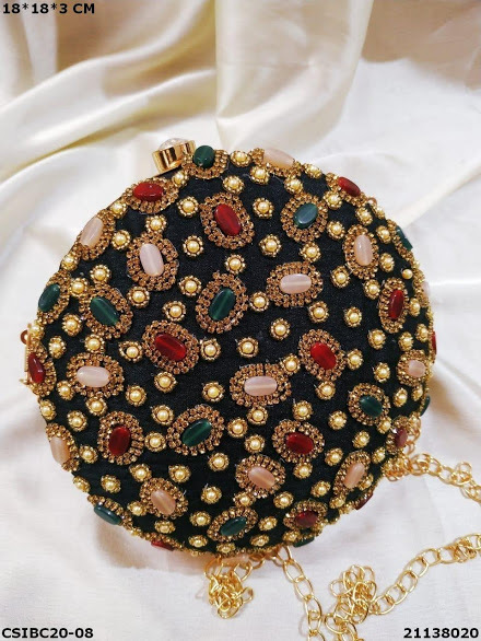 Handcrafted ethnic beaded box clutch