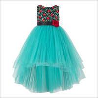 Floral EmbroideredGreen Hi-Low Dress.