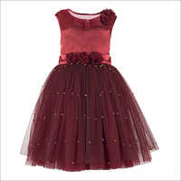 Pearl Embellished Maroon Dress.