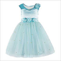 Pearl Embellished Sky BLue Knee Length Party Dress