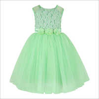 Flower Applique Green Frock.