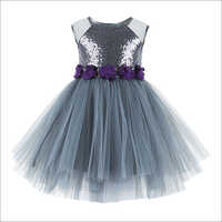 Sequins Embellished Grey Knee Length Party Frock